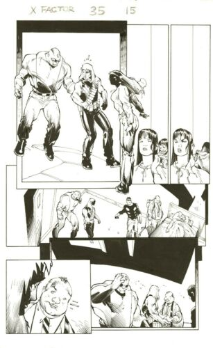 X-FACTOR #35 PAGE 15 Original Art by LARRY STROMAN & JON SIBAL 2008 w/LONGSHOT