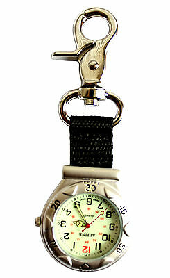 Silver Clip-on Carabiner FOB Watch for Doctors Nurses Paramedics Chefs Sports
