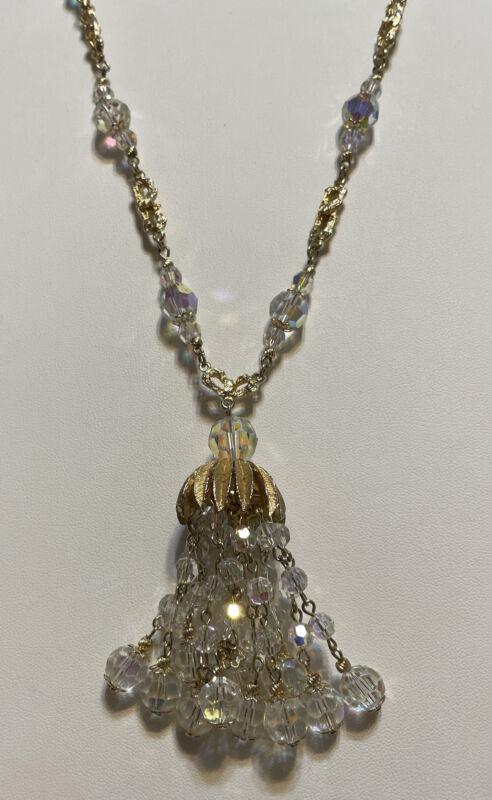 """Vintage VENDOME Crystal Tassel Gold Tone Necklace 24""""+ 3"""""""