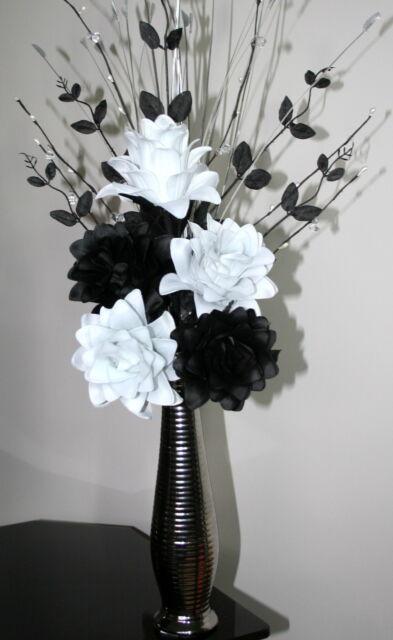 Artificial Silk Flowers Black White Flower Arrangement In Silver