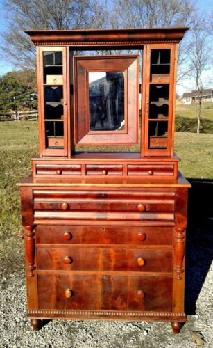 Antique Cherry Desk with Mirror and a Six Pane Top 1870 Era