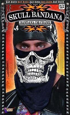 Skull Bandana Facemask Biker Face Mask Jaw to Nose Black Costume Bandanna NEW - Jaw Mask