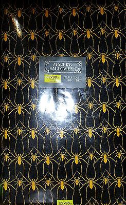 VINYL HALLOWEEN TABLECLOTH SPIDERS 52 x 90 RECTANGULAR BLACK GOLD WIPE CLEAN NEW