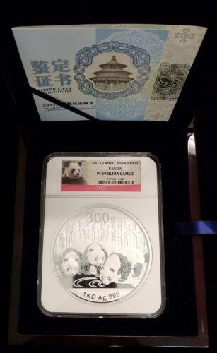 2013 China 1 Kilogram Kilo Proof Silver Panda 300 Yuan NGC PF69 Ultra Cameo COA