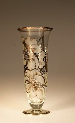 (Vintage Tall Crystal Vase Frosted & Silver Overlay Flowers c.1955)