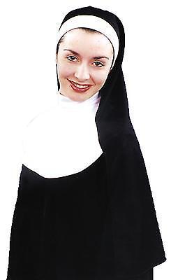 ADULT WOMAN SISTER FLIGHTY FLYING NUN HABIT COSTUME HAT W// HOOD HEADPIECE WHITE