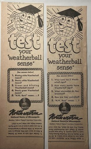 Two 1950 newspaper ads for Northwestern Bank MN - Test your weatherball sense