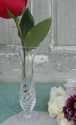 "Lead Crystal 7"" Footed Bud Vase Criss Cross Fan Design"