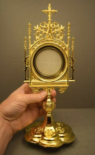 """+ Nice Goldplated Chapel Monstrance with Luna + 12"""" ht. + (CU374) chalice co. +"""