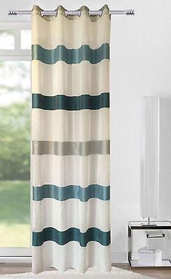 Ösenschal Vorhang Gardine 140x245 Streifen petrol / weiß / silber  400271