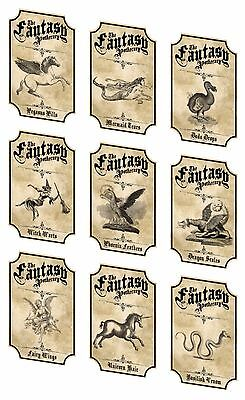 Halloween fantasy apothecary bottle labels 9 laminated party favor decoration - Halloween Fantasy