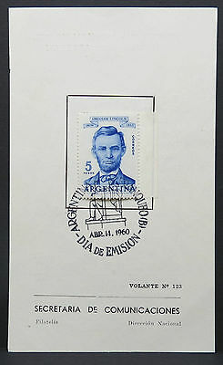 Argentina FDC Lincoln 5 Peso First Day Special Postmark Argentina (Lot 9529