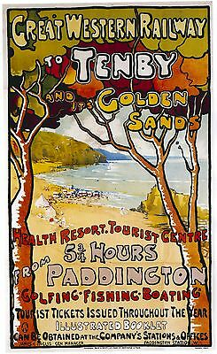 Vintage Rail travel railway poster  A4 RE PRINT Tenby & it's Golden Sands