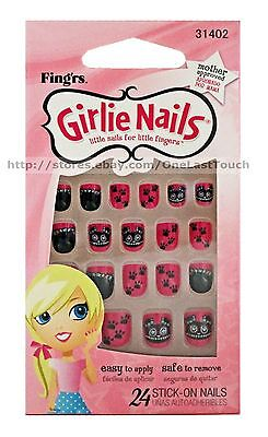 Pink And Black Halloween Nails (FING'RS GIRLIE NAILS 24 Stick/Press-On PINK+DOG+BLACK+PAWS Halloween NEW!)