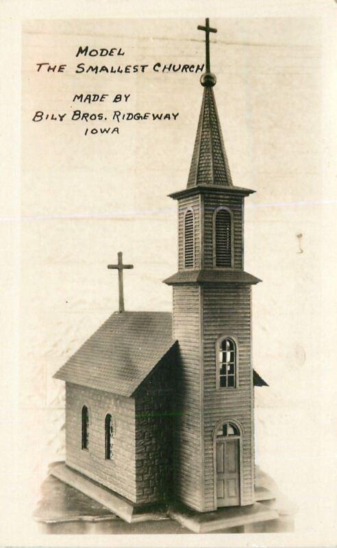 Ridgeway IA RPPC Minature Church~St Anthony of Padua (Festina)~c1930 Postcard