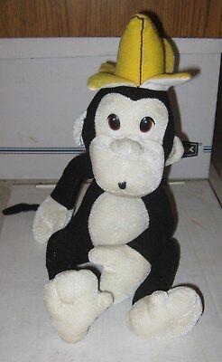 (Nanco 15-Inch Black Monkey with Yellow Banana Peel Hat and Hanging Loop Plush)
