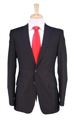 Pal Zileri Recent Brown/Black Tonestripe 2-Btn Slim Fit 120's Wool Suit 36R