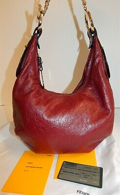 Fendi Deep Bordeaux Nappa Leather Small Chain Hobo Shoulder Bag Italy w/ Card