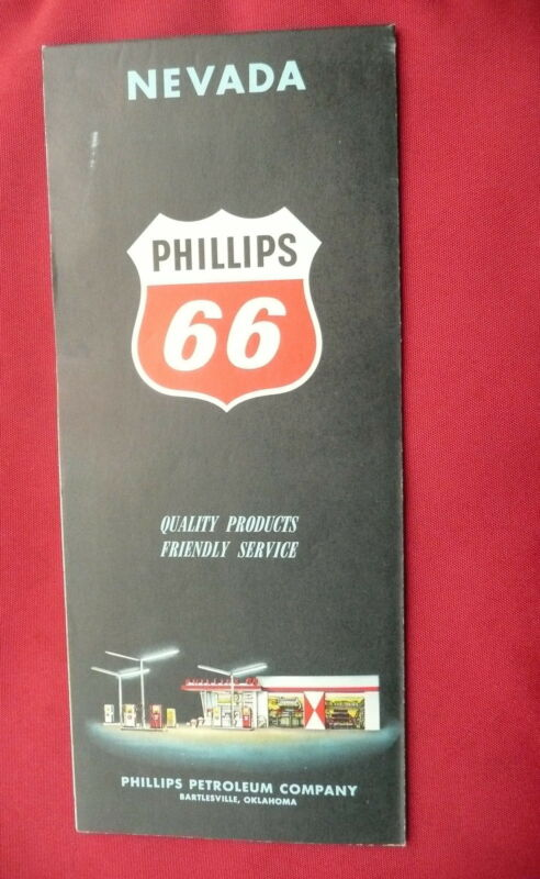 1961 Nevada  road  map Phillips 66  gas oil Las Vegas Lake Tahoe