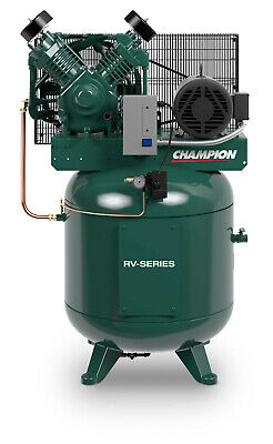7.5hp 2 Stage 1 Phase 80 Gal Vertical Champion Air Compressor W After Cooler
