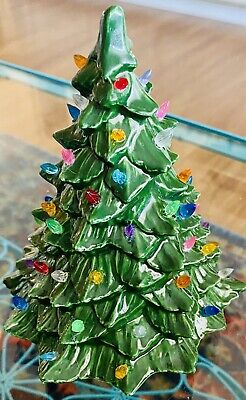 """Vintage Ceramic Green Light-Up Christmas Tree With Pin Lights 6"""" Tall"""