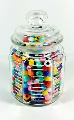 Candy Jar 8oz Glass with Airtight Lid Collectible Container Kitchen Decor 0103  - Decorative Glass Containers With Lids