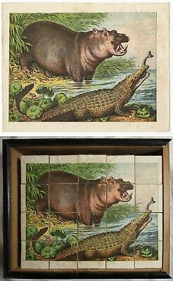 Antique VICTORIAN WOODEN BLOCKS Zoo Animals Game LITHOGRAPH PUZZLE WITH BOX Toy