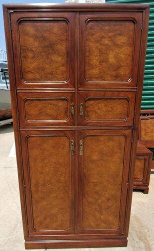 John Widdicomb Vintage Mid-Century Modern Burl Wood Dresser Armoire Cabinet