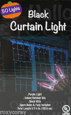 Halloween 50 Curtain Lights Black Wire Total Length 5 ft 4 in NIB](Purple Halloween Lights)
