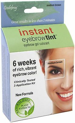 Godefroy Instant Eyebrow Tint Eyebrow Gel Colorant, Dark Brown 3 ea