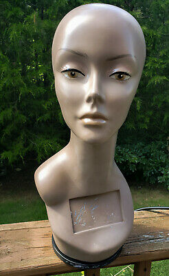 Mannequin Head Female African American Rotating Base 18.5 Used