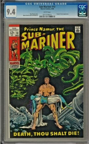 SUB-MARINER #13 CGC 9.4 WHITE PAGES SERPENT CROWN APP