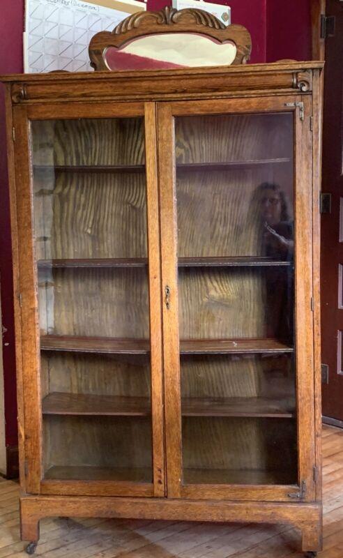 Antique Tiger Oak China Cabinet / Bookcase Double Door