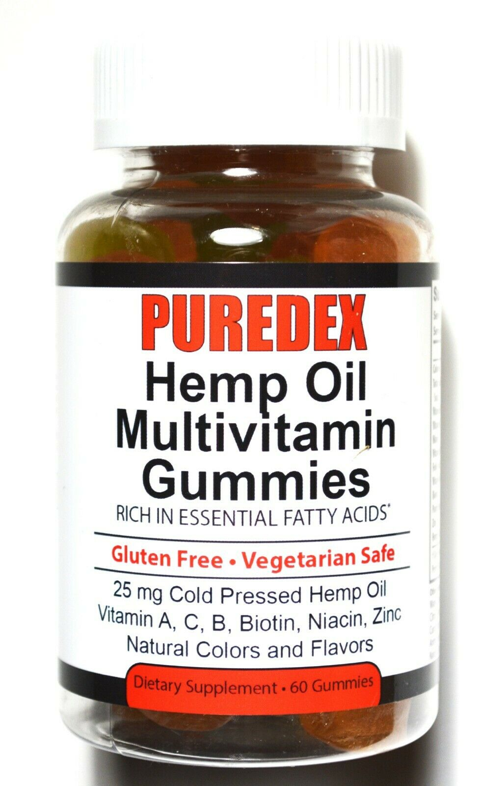 Puredex Hemp Oil Multivitamin Gummies 60ct. 26mg Hemp Oil per Gummie, Vitamins C