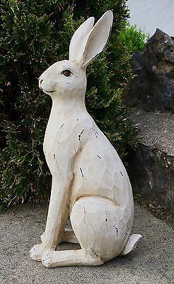 LARGE Rustic White Hare / Rabbit Ornament Figure NEW
