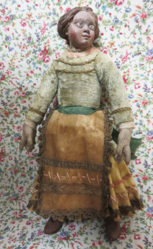 "ANTIQUE 9"" CRECHE FIGURE PEASANT WOMAN NEAPOLITAN ?"