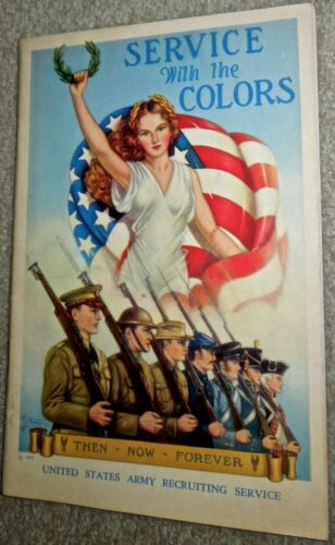 1939 WW2 Era Service with the Colors, US Army Recruiting Booklet w/Mail Envelope