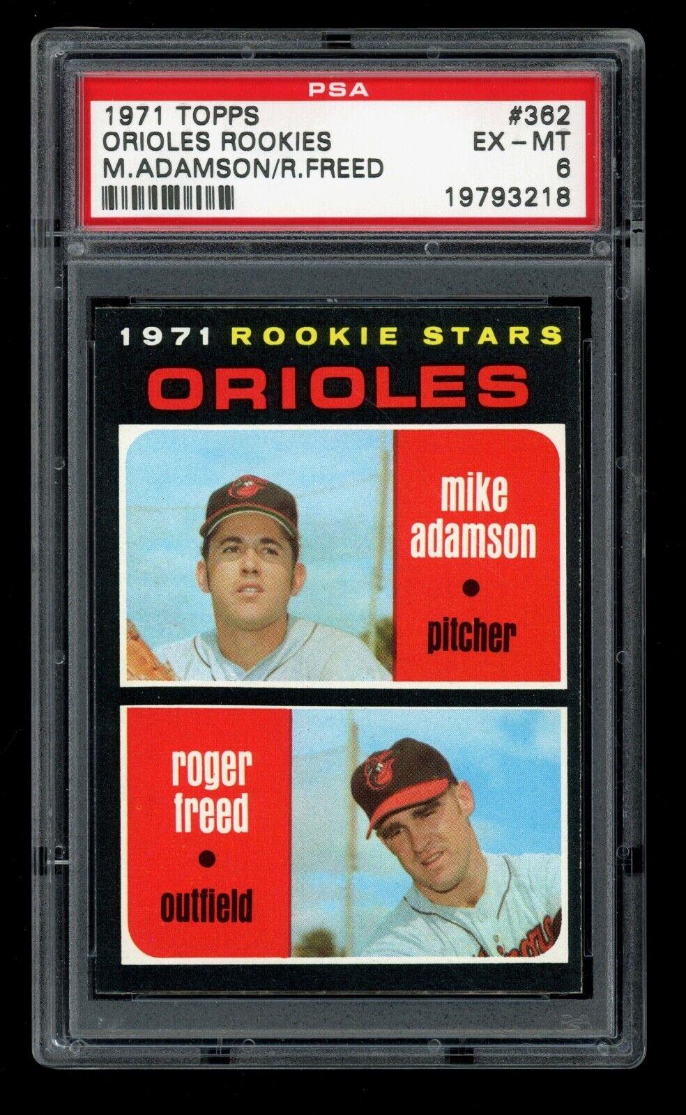1971 Topps Baseball 362 Mike Adamson / Roger Freed PSA 6 EX-MT - ID016 - $12.50