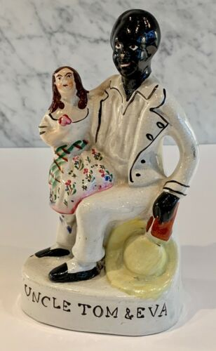 Antique Staffordshire Uncle Tom and Eva Titled Figure 19th Century