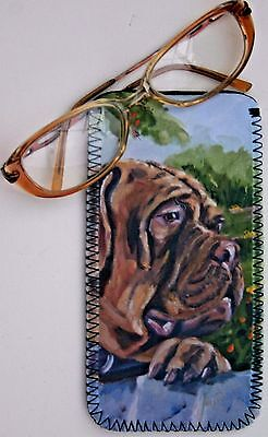 DOGUE DE BORDEAUX DOG NEOPRENE GLASS CASE POUCH  SANDRA COEN ARTIST PRINT