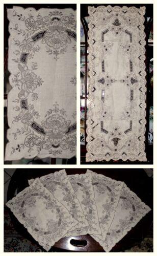 ANTQ CHEE FOO Embroidery Richelieu Cutwork Needlelace Linen Runner+5 Placemats