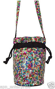 Sequin Beaded Drawstring Bag Purse MULTICOLOR
