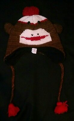 Sock Monkey Wool Winter Knit Hat Toboggan Earflap Tassels - Adult Sock Monkey Hat