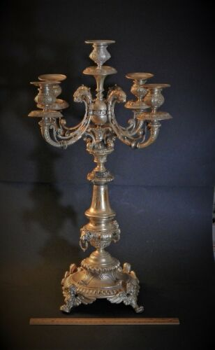 """Large Antique German 800 Silver Five Light Candelabra 19th / 20th Century  22.5"""""""