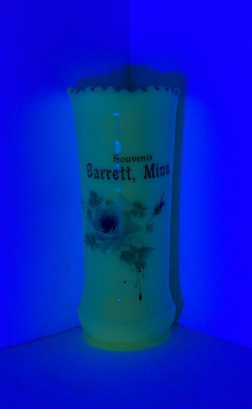"Barrett Minnesota Souvenir Custard Uranium Glass or Vase 6"" Tall GLOWS"