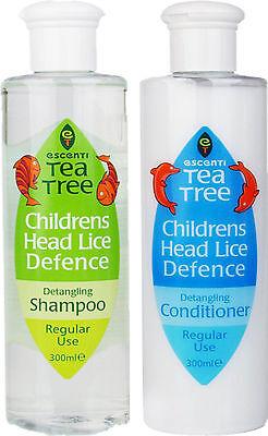 Escenti Kinder Kopfläuse Abwehr Entwirrendes Shampoo 300ml & Haarspülung 300ml