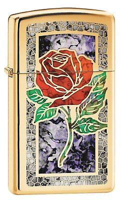 Zippo Lighter: Slim Fusion Rose - High Polish Brass 78750