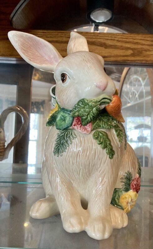 Fitz And Floyd Garden Herb Rare Bunny Cookie Jar