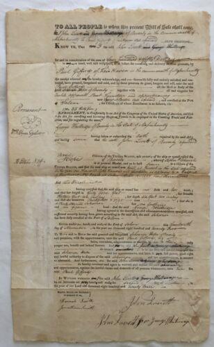 """1823 BILL OF SALE for 1814 SCHOONER """"HOPE OF BEVERLY"""" -  BEVERLY, MASSACHUSETTS"""