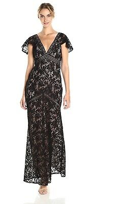 $448‼️NEW BCBG BLACK LACE SEXY FORMAL WEDDING LONG DRESS GOWN CAPE SLEEVES